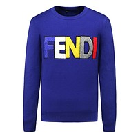 Supreme 2018 street fashion new magic embroidery letters men's warm knitted sweater Blue