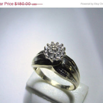 On SALE Diamond Ring 1950's Engagement Wedding Combination Ring