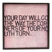 Sugarboo Designs 'Your Day Will Go the Way the Corners of Your Mouth Turn' Vintage Framed Art Print