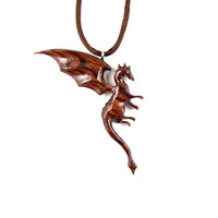 Dragon Pendant, Dragon Necklace, Dragon Jewelry, Wood Dragon Necklace, Fantasy Jewelry, Carved Dragon Necklace, Wood Necklace, Wood Jewelry