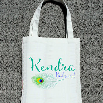 Feather Bridal Party Personalized Initial Tote - Wedding Welcome Tote Bag
