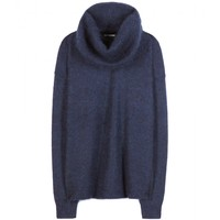 acne studios - demi mix wool and mohair-blend sweater with removable snood