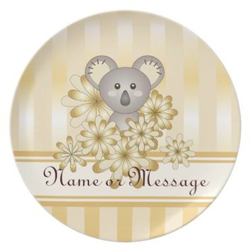 Cute Animal Baby Koala Gold Effect Kids Custom Plate