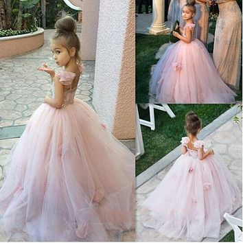 Pretty A-Line Flowers Girl Dresses Blush Pink Tulle Flowers Junior Bridesmaid Gown Puffy Toto Baby Little Girls Dress LD1737