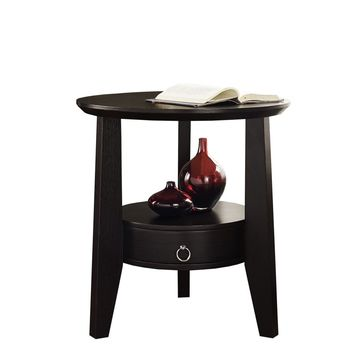 "Cappuccino 23""Dia Accent Table With 1 Drawer"