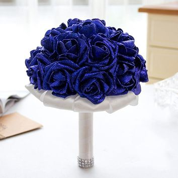 Handmade Artificial Rose Flower Royal Blue Wedding Bouquet with Ribbon Bridal Bouquet 6 colors available!