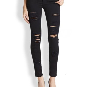 PAIGE - Verdugo Transcend Distressed Ultra Skinny Jeans