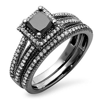 1.35 Carat (ctw) Black Rhodium Plated 14K White Gold Princess & Round Diamond Halo Engagement Ring Set
