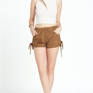 Harper Faux Suede Lace Up Side Shorts