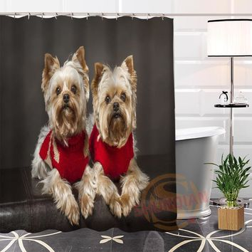 Best Nice Custom Cute Dogs Shower Curtain Bath Curtain Waterproof Fabric Bathroom MORE SIZE LQ#9
