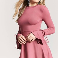 Trumpet Sleeve Skater Dress