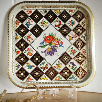 Daher England Tin Serving Tray Square, Vintage England Daher Tin Tray