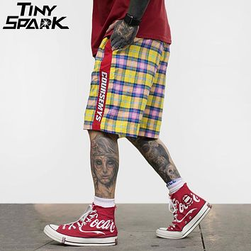 Hip Hop Baggy Short Colorful Plaid Patchwork Men Casual Short Checkered Skateboard Street wear Summer Thin Shorts Oversize