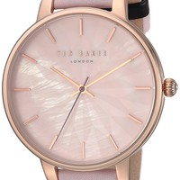Ted Baker Women's 'KATE' Quartz Stainless Steel and Leather Casual Watch, Color:Pink (Model: TE15200001)