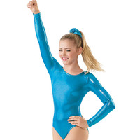 Metallic Long Sleeve Gymnastic Leotard; Balera