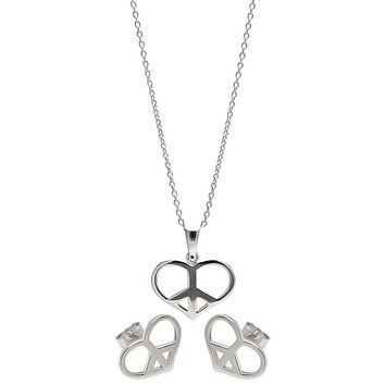 .925 Sterling Silver Rhodium Plated Open Heart Peace Sign Cubic Zirconia Stud Earring & Necklace Set
