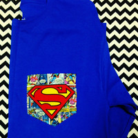 Superman Pocket Tee Shirt for Ladies or Men