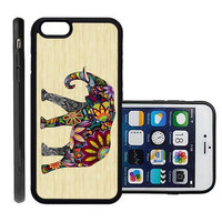 RCGrafix Brand Elephant On Wood Apple Iphone 6 Plus Protective Cell Phone Case Cover - Fits Apple Iphone 6 Plus