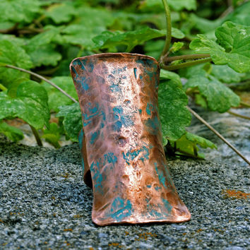 Women's Copper Shield Ring, Moss Green Patina, Adjustable, Statement Cuff Ring, Engraved Markings