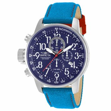 Invicta 12074 Men's I-Force Lefty Blue Dial Blue Fabric & Leather Strap Chronograph Watch