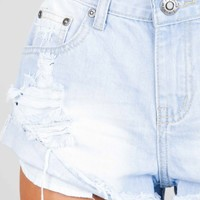 Come play denim shorts in light wash Produced By SHOWPO