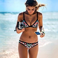 Push Up Spaghetti Strap Geometric Tribal Bikini Set swimsuits