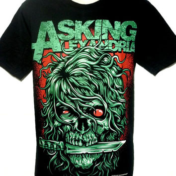 Asking Alexandria Skull Metal Rock Band Graphic Tee T Shirt Size M L