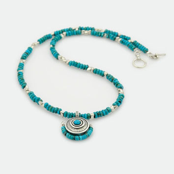 Turquoise and Silver Necklace, Turquoise and Silver Beaded Necklace, Turquoise and Silver Toggle Necklace , Round Statement Pendant