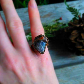 Amethyst Ring | Copper Electroformed | Rustic Copper Ring | Copper Patina | Boho Statement Ring