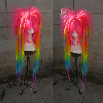 READY To SHIP! Neon Rainbow Spectrum Dread WIG Hair Art cyber goth punk hippie gypsy festival circus rave raver cosplay comic con anime drag