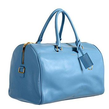 Saint Laurent Women's Blue Calfskin Leather Classic Duffle 12 Bag