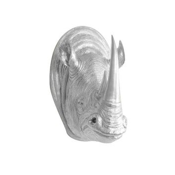 The Large Serengeti Silver Faux Taxidermy Resin Rhino Head Wall Mount | Silver Rhinoceros w/ Colored Horns