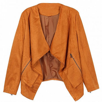 Brown Faux Suede Long Sleeve Slim Blazer