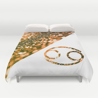 Cancer Zodiac Sign Duvet Cover by Haroulita