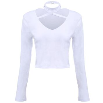 Sexy V-neck Criss-cross Bandage Long Sleeve Pure Color Knitted Crop Top for Ladies
