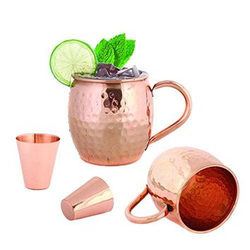 Set of 2 Moscow Mule Copper Mugs 16 OZ  Two Copper Shot Glass Included  100 Solid Pure Copper Hammered Barrel Cup Mug with No Inner Lining by Foodie Aid