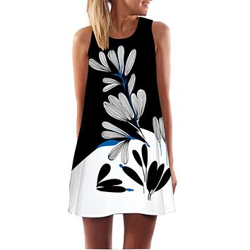 Dress Women Floral Print Chiffon Dress Sleeveless