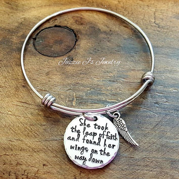 She Took A Leap Of Faith And Found Her Wings On The Way Down Bangle, Quote Bangle, Motivational Gift, Inspirational Gift, Gift for Her