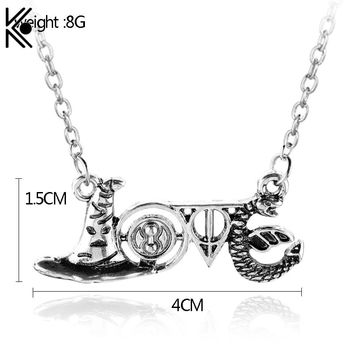 Slythrin Gryffindo Necklace Deathly Hallows Time Turner Hat Snake Fashion Accessories Love Jewelry Necklaces & Pendants