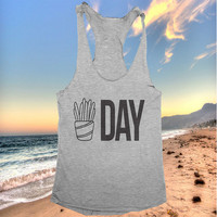 fries day tank top funny women ladies lady tops fitness yoga crossfit training workout gym summer cool