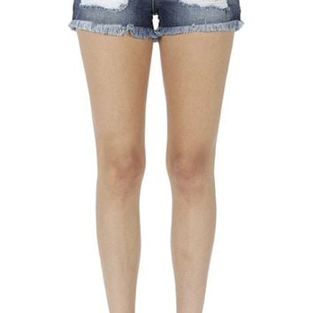 KAN CAN Women's High Rise Distressed Denim Jean Shorts with Frayed Hem