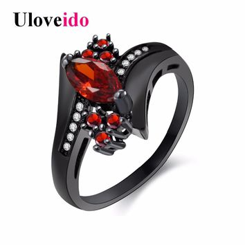 Uloveido Cubic Zirconia Engagement Rings for Women Black Crystal Ring with Red Stones Women's Wedding Jewelry Girl Gifts Y350