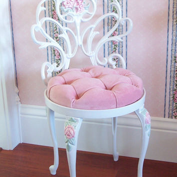Vintage White Scrolly Boudoir Vanity Chair Stool with Hand Painted Pink Roses Pink Velvet Seat Cushion