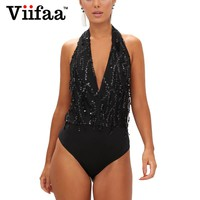 Viifaa Sequin Jumpsuit V Neck Bodycon Evening Party Bodysuit Women Halter Sexy Romper Backless Club Bodysuits