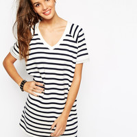 Monochrome Stripe V-Neck Shift Dress
