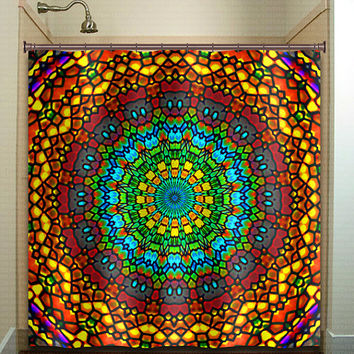 church ceiling stained glass bohemian mandala shower curtain bathroom decor fabric kids bath window curtains panels valance bathmat