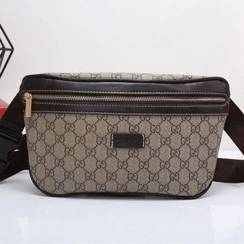 DCCKH3L Gucci' Casual Fashion Classic Double G Letter Logo Print Chest Bag Messenger Bag Men Waist Bag