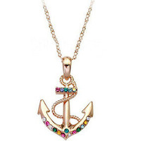 Color Diamonds anchor necklace