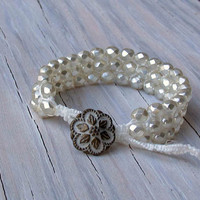 Brides Jewelry, Macrame Bracelet, Bridal, Beaded Cuff, Mother of the Bride, Gifts for Her, Gifts under 40.00, Fall Gifts