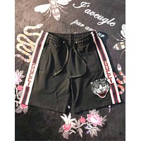 Champion New Popular Women Men Cat Head Embroidery Drawstring Sport Shorts Black I-CN-CFPFGYS